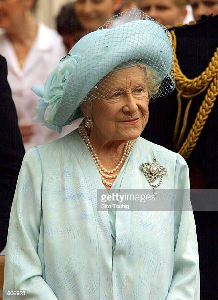 Britain''s Queen Mother greets supporters during celebrations to mark her 101st birthday August 4 2001 in London