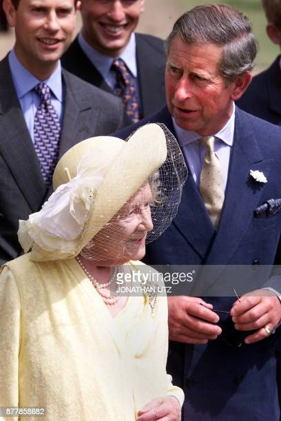 Britain's Queen Mother with Prince Charles and Prince Edward joined other family members on the occasion of the Queen Mother's 99th birthday at her...