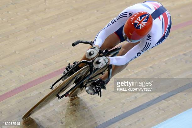 Britain's Rebecca Angharad James competes to win the bronze medal in the UCI Track Cycling World Championships Women's 500m Time Trial in the...