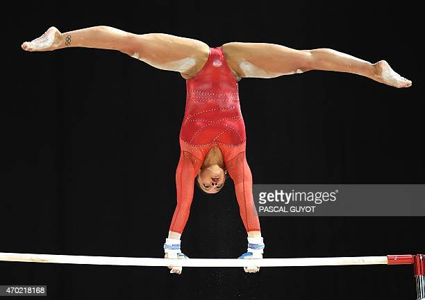 Britain's Rebecca Downie competes in the Uneven bars event during the European Women's Artistic Gymnastics Individual Championships in Montpellier...