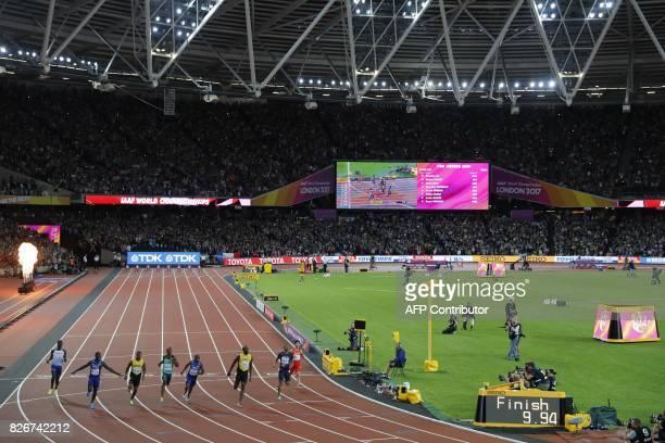 Britain's Reece Prescod US athlete Justin Gatlin Jamaica's Yohan Blake South Africa's Akani Simbine US athlete Christian Coleman Jamaica's Usain Bolt...