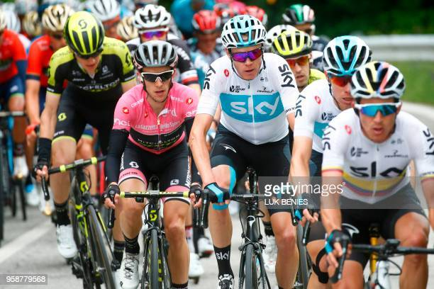 Britain's rider of team Mitchelton-Scott Simon Yates and Britain's rider of team Sky Christopher Froome ride in the pack near Amandola during the...