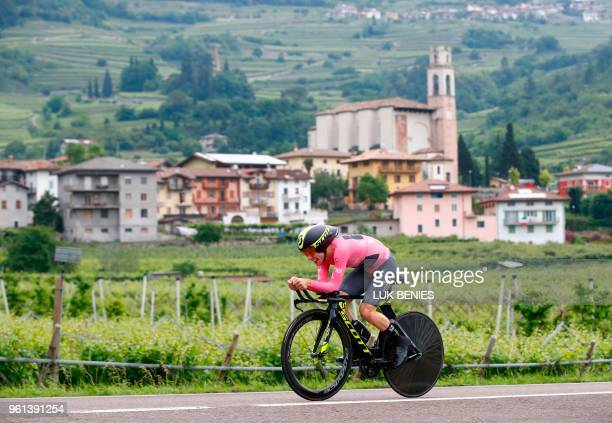 Britain's rider of team Mitchelton-Scott Simon Yates competes in the 16th stage a time trial between Trento and Rovereto during the 101st Giro...
