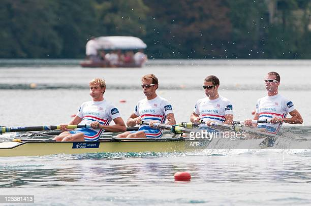 Britain's Rob Williams Chris Bartley Paul Mattick and Richard Chambers compete in Lightweight Men's Four final raceduring day six of the FISA Rowing...