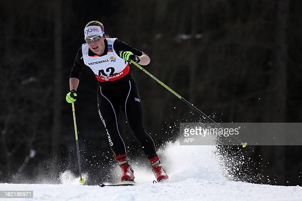 Britain's Rosamund Musgrave competes on February 20 2013 during the women's World Cup FIS Nordic skiing cross country 5 km qualifications at Val Di...