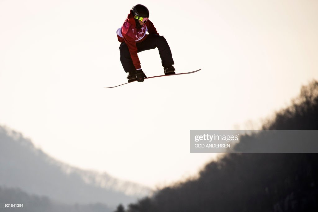 Britain's Rowan Coultas competes during the qualification of the men's snowboard big air event at the Alpensia Ski Jumping Centre during the Pyeongchang 2018 Winter Olympic Games in Pyeongchang on February 21, 2018. / AFP PHOTO / Odd ANDERSEN