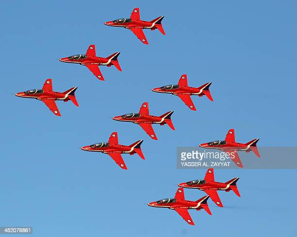 Britain's Royal Air Force aerobatic team The Red Arrows perform during a show in Kuwait City on November 26 2013 AFP PHOTO / YASSER ALZAYYAT