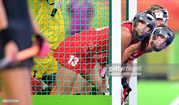 Britain's Sam Quek defends her goal with teammates during the women's Gold medal hockey Netherlands vs Britain match of the Rio 2016 Olympics Games...