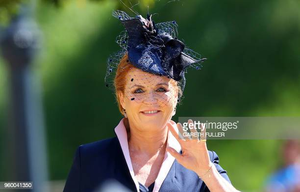 Britain's Sarah Duchess of York arrives for the wedding ceremony of Britain's Prince Harry Duke of Sussex and US actress Meghan Markle at St George's...