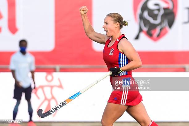 Britain's Sarah Robertson celebrates after scoring during a hockey game between the Belgian Red Panthers and Great Britain's national team, a group...
