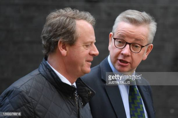 Britain's Scotland Secretary Alister Jack amd Britain's Chancellor of the Duchy of Lancaster Michael Gove leave after a meeting of the cabinet at 10...