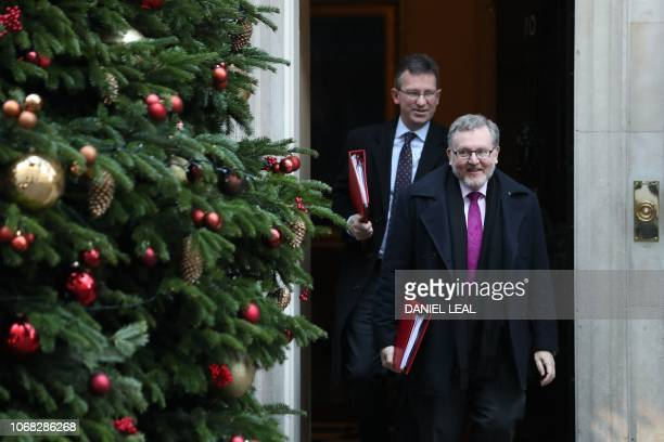 Britain's Scotland Secretary David Mundell and Britain's Culture Secretary Jeremy Wright leaves after attending the weekly meeting of the cabinet at...