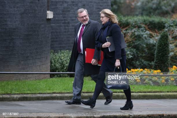 Britain's Scotland Secretary David Mundell and Britain's International Development Secretary Penny Mordaunt arrive in Downing street for the weekly...