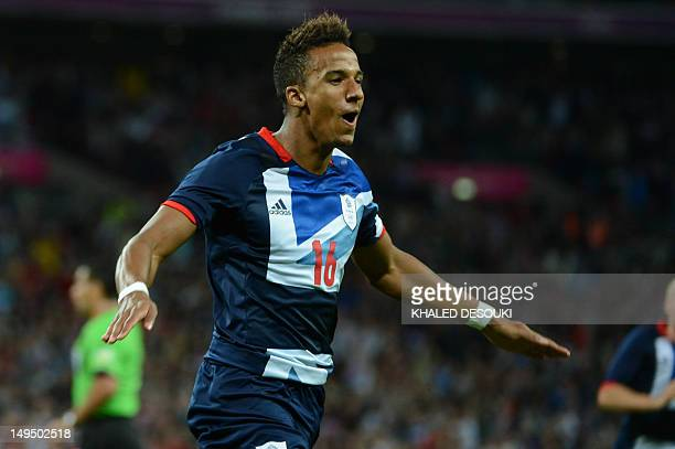 Britain's Scott Sinclair celebrates after scoring a goal against United Arab Emirates during their London 2012 Olympic Games men's football match on...