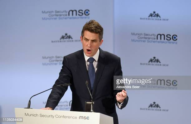 Britain's secretary of state for defence Gavin Williamson gives his speech during the 55th Munich Security Conference on February 15 2019 in Munich...