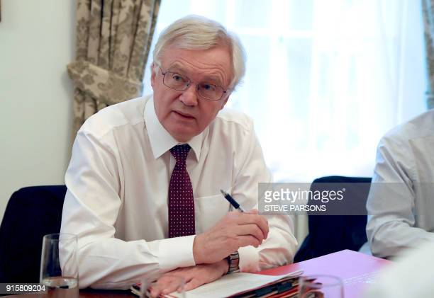 Britain's Secretary of State for Exiting the European Union David Davis holds a meeting with Permanent Representative of the United Kingdom to the...