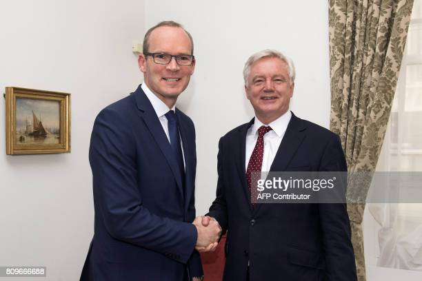 Britain's Secretary of State for Exiting the European Union David Davis meets Irish Foreign Minister Simon Coveney for talks at no 11 Downing Street...