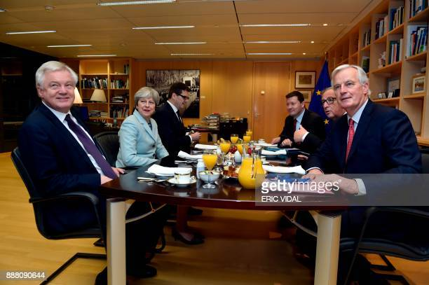 Britain's Secretary of State for Exiting the European Union David Davis Britain's Prime Minister Theresa May European Commission President JeanClaude...