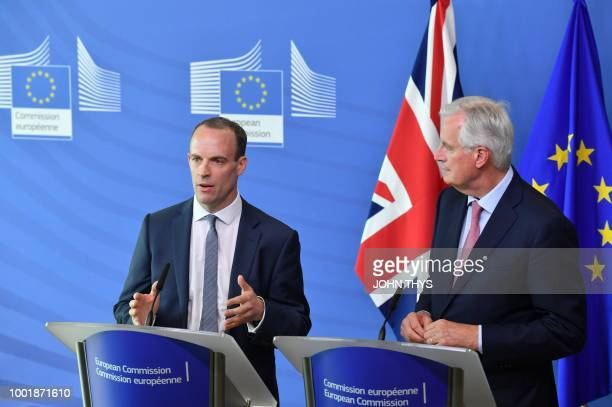 Britain's Secretary of State for Exiting the European Union Dominic Raab speaks next to EU Chief Brexit Negotiator Michel Barnier during their joint...