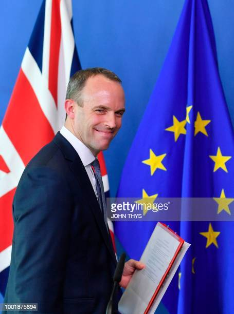 Britain's Secretary of State for Exiting the European Union Dominic Raab leaves after a joint press conference with EU's chief Brexit negotiator at...