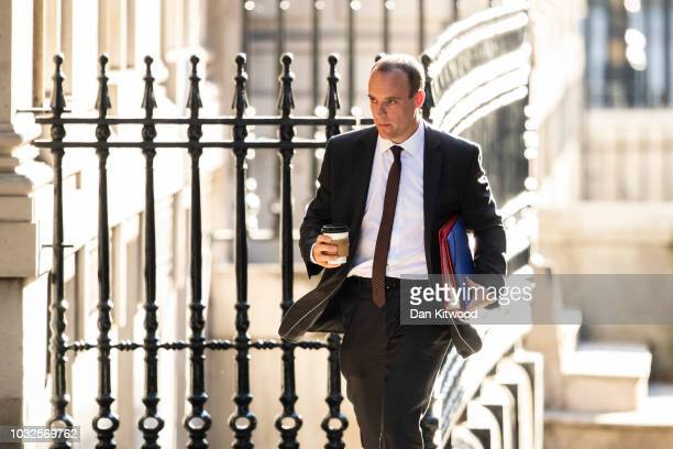 Britain's Secretary of State for Exiting the European Union Dominic Raab arrives at Downing Street on September 13 2018 in London England Theresa May...