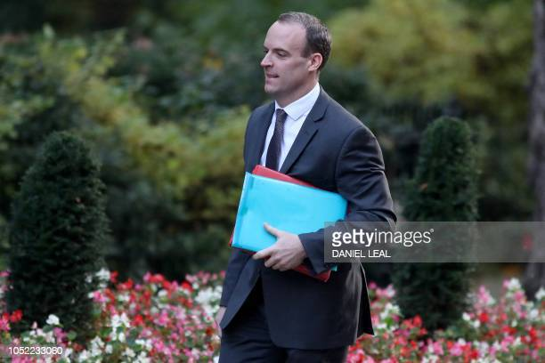 Britain's Secretary of State for Exiting the European Union Dominic Raab arrives to attend the weekly meeting of the cabinet at 10 Downing Street in...