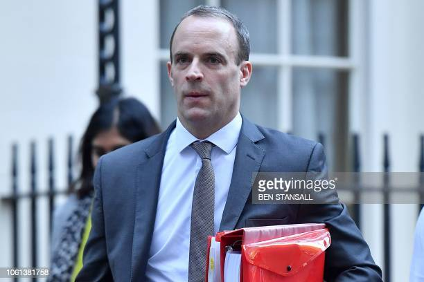 Britain's Secretary of State for Exiting the European Union Dominic Raab leaves Downing Street in London on November 14 2018 British and European...