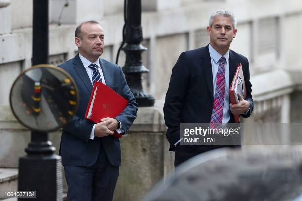 Britain's Secretary of State for Exiting the European Union Stephen Barclay and Britain's Parliamentary Under Secretary of State at the Department...