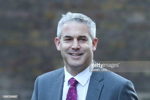 Britain's Secretary of State for Exiting the European Union Stephen Barclay arrives to attend the weekly meeting of the cabinet at 10 Downing Street...
