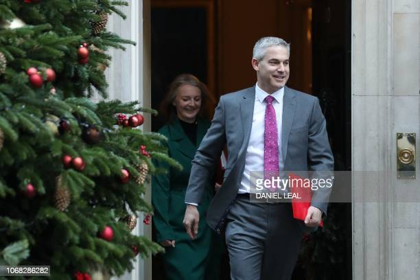 Britain's Secretary of State for Exiting the European Union Stephen Barclay and Britain's Chief Secretary to the Treasury Liz Truss leaves after...