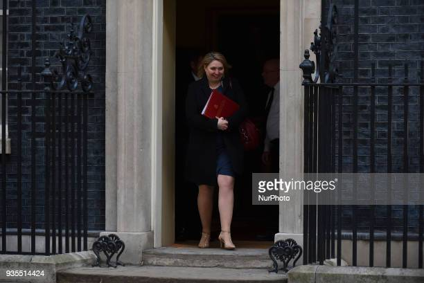 Britain's Secretary of State for Northern Ireland Karen Bradley leaves at Downing Street to attend the weekly Cabinet Meeting London on March 20 2018...