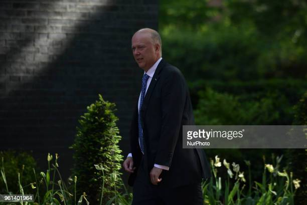 Britain's Secretary of State for Transport Chris Grayling arrives at 10 Downing Street to attend the weekly Cabinet meeting London on May 22 2018