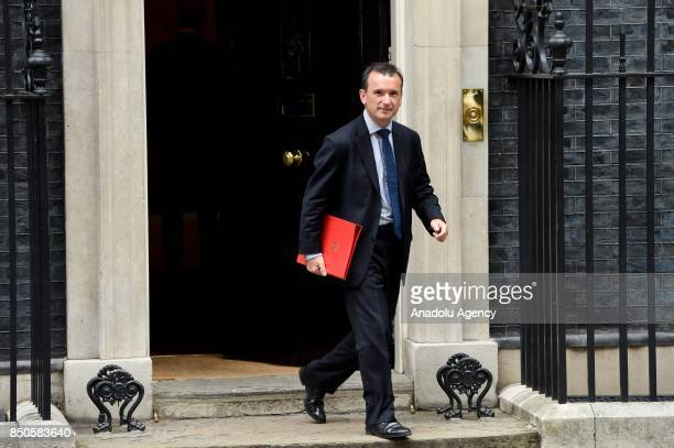 Britain's Secretary of State for Wales Alun Cairns departs Downing Street after a Cabinet meeting in London United Kingdom on September 21 2017 The...