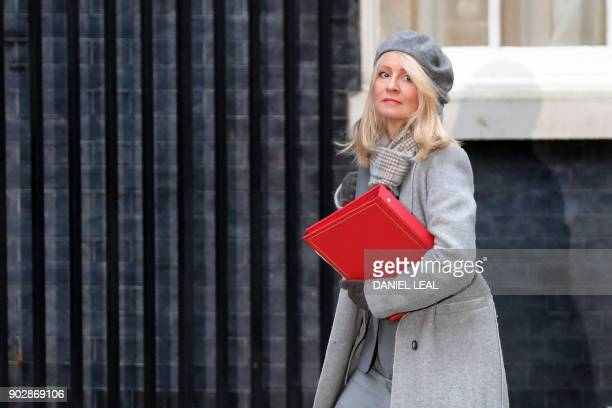 Britain's Secretary of State for Work and Pensions Esther McVey arrives at 10 Downing street in central London for the first cabinet meeting of the...