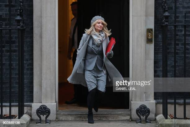 Britain's Secretary of State for Work and Pensions Esther McVey leaves 10 Downing street in central London after the first cabinet meeting of the new...