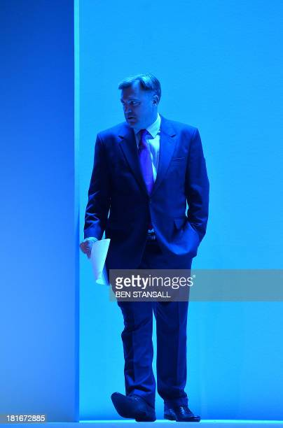 Britain's Shadow Chancellor of the Exchequer Ed Balls arrives to address delegates during the second day of the Labour party conference in Brighton...