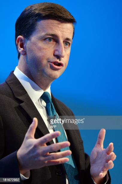 Britain's Shadow Foreign Secretary Douglas Alexander addresses delegates during the second day of the Labour party conference in Brighton Sussex...