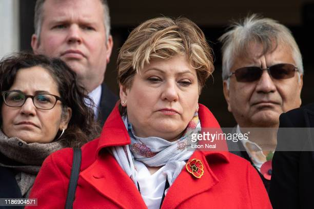 Britain's Shadow Foreign Secretary Emily Thornberry attends the Armistice Day Commemoration at Islington Town Hall to mark Armistice Day on November...