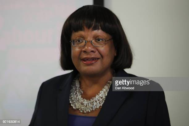 Britain's Shadow Home Secretary Diane Abbott gives a speech on immigration at the Policy Institute on February 21 2018 in London England Ms Abbot...
