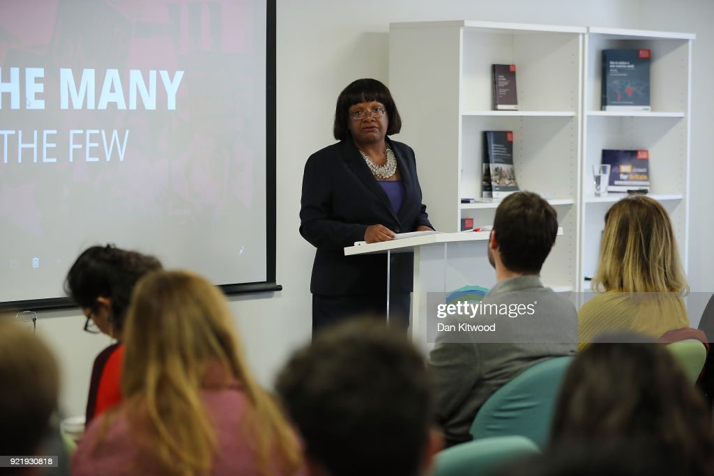 Britain's Shadow Home Secretary Diane Abbott gives a speech on immigration at the Policy Institute on February 21, 2018 in London, England. Ms Abbot spoke on how Labour wants to base its immigration policies for a better system for families.