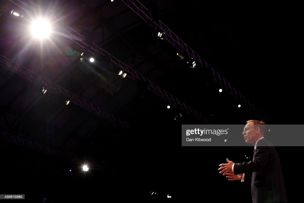 Britain's shadow Secretary of State for International Development Jim Murphy delivers a speech to delegates on day two of the Labour party Conference on September 22, 2014 in Manchester, England. The four-day annual Labour Party Conference opened in Manchester yesterday and is expected to attract thousands of delegates with keynote speeches from influential politicians and over 500 fringe events.