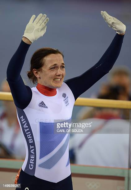 Britain's silver medalist Victoria Pendleton reacts after losing to Australia's gold medalist Anna Meares in the London 2012 Olympic Games women's...