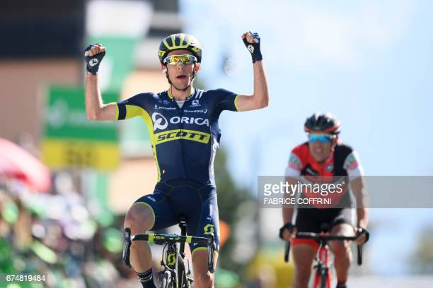 Britain's Simon Yates of team Orica sprints to win the fourth stage of Tour de Romandie UCI protour cycling race a 1635 km ride from Domdidier to...