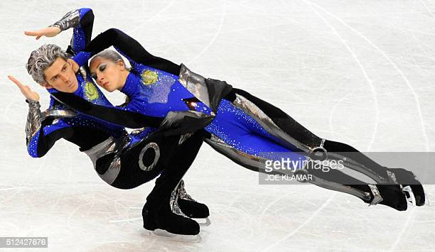 Britain's Sinead and John Kerr perform their free dance at the Scandinavium arena in Gothenburg on March 21 during the World Figure Skating...