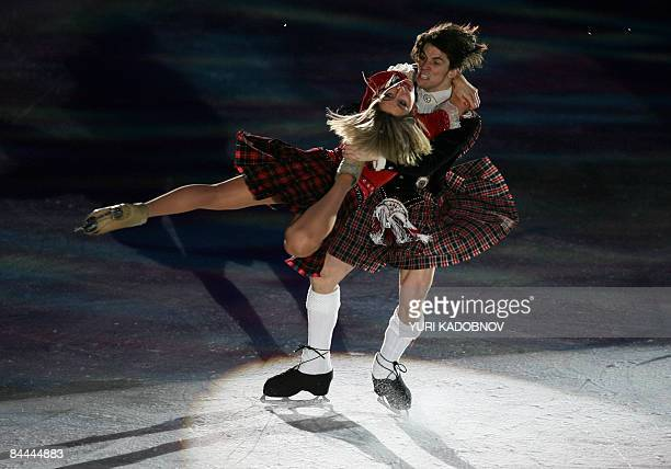 Britain's Sinead Kerr and John Kerr perform during the exhibition gala of the European Figure Skating Championships at the Hartwall Areena in...