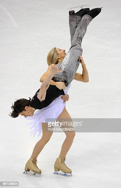 Britain's Sinead Kerr and John Kerr perform their free dance during the Ice Dance competition at the World Figure Skating Championships on March 26...