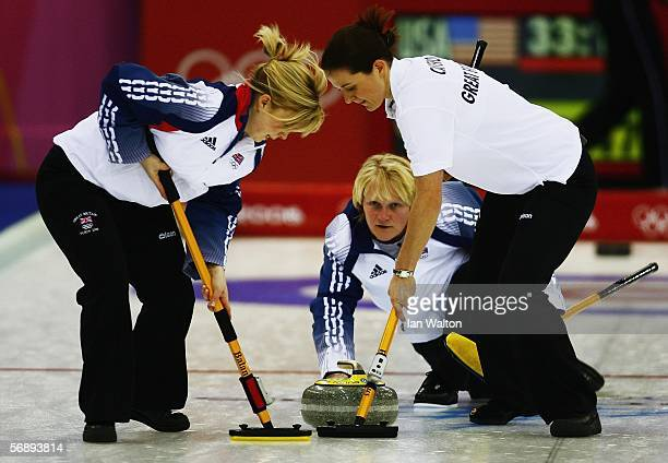 Britain's skipper Rhona Martin follows her throw during the preliminary round of the women's curling between USA v Great Britain during Day 10 of the...