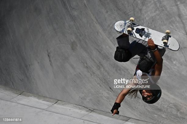 Britain's Sky Brown competes in the women's park final during the Tokyo 2020 Olympic Games at Ariake Sports Park Skateboarding in Tokyo on August 04,...