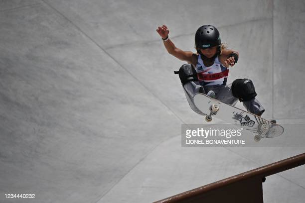 Britain's Sky Brown competes in the women's park heats during the Tokyo 2020 Olympic Games at Ariake Sports Park Skateboarding in Tokyo on August 04,...