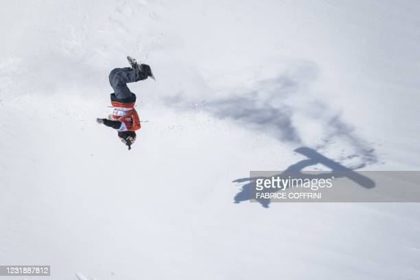Britain's snowboarder Cody Bramwell competes during the Verbier Xtreme Freeride World Tour final on the Bec de Rosses mountain on March 23, 2021...